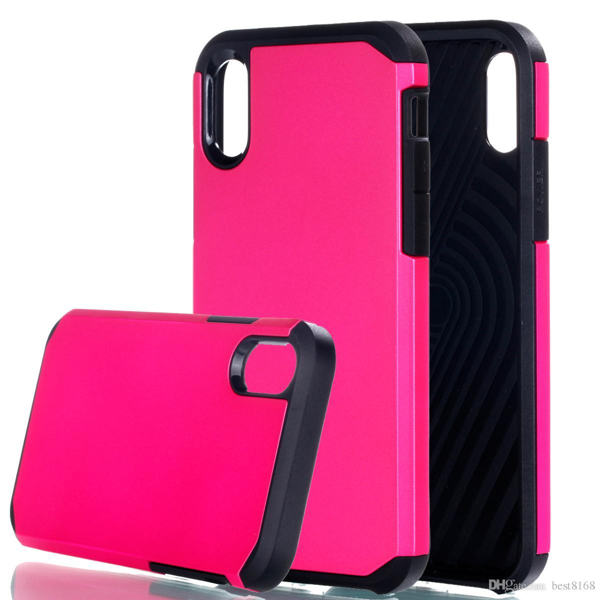 Armor Robot Case para Iphone X 5.8 pulgadas / Galaxy Note8 Note 8 Plástico rígido híbrido a prueba de golpes resistente + TPU Defender Cubierta de piel de teléfono celular de lujo