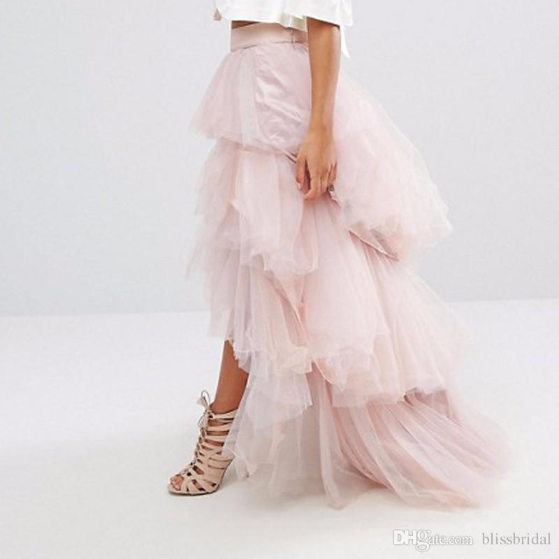 2017 Elegant Long Women Skirts High Low Floor Lenth Irregular Tiered Female Skirts Puffy Asymmetrical Floor Maxi Party Skirt