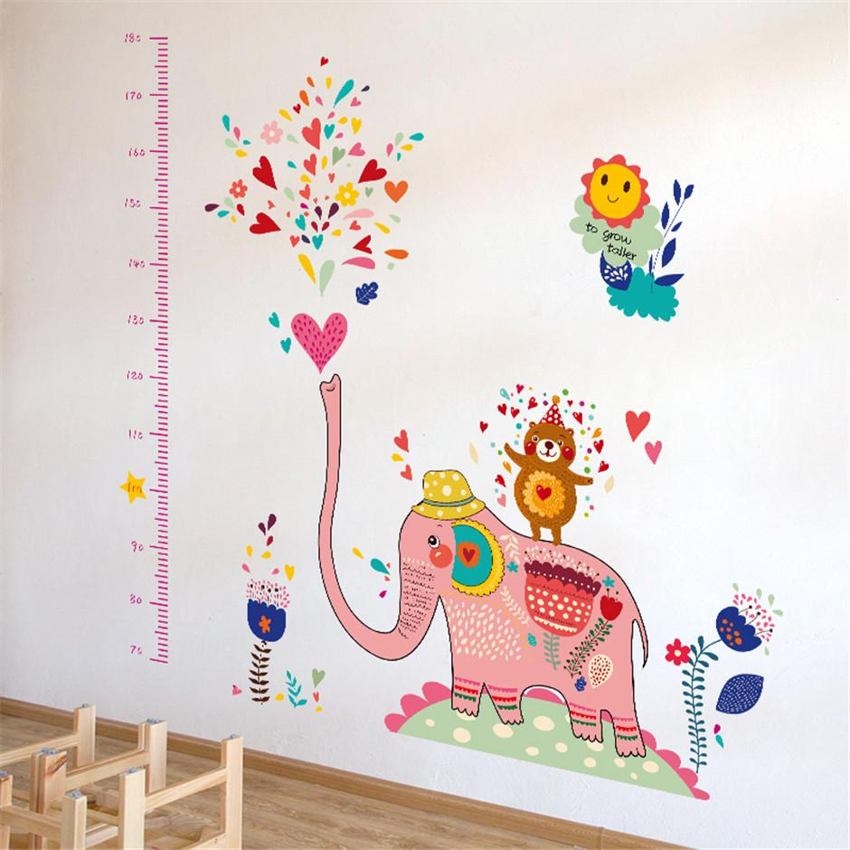 Growth chart pink elephant height chart wall stickers hot sells see larger image amipublicfo Gallery