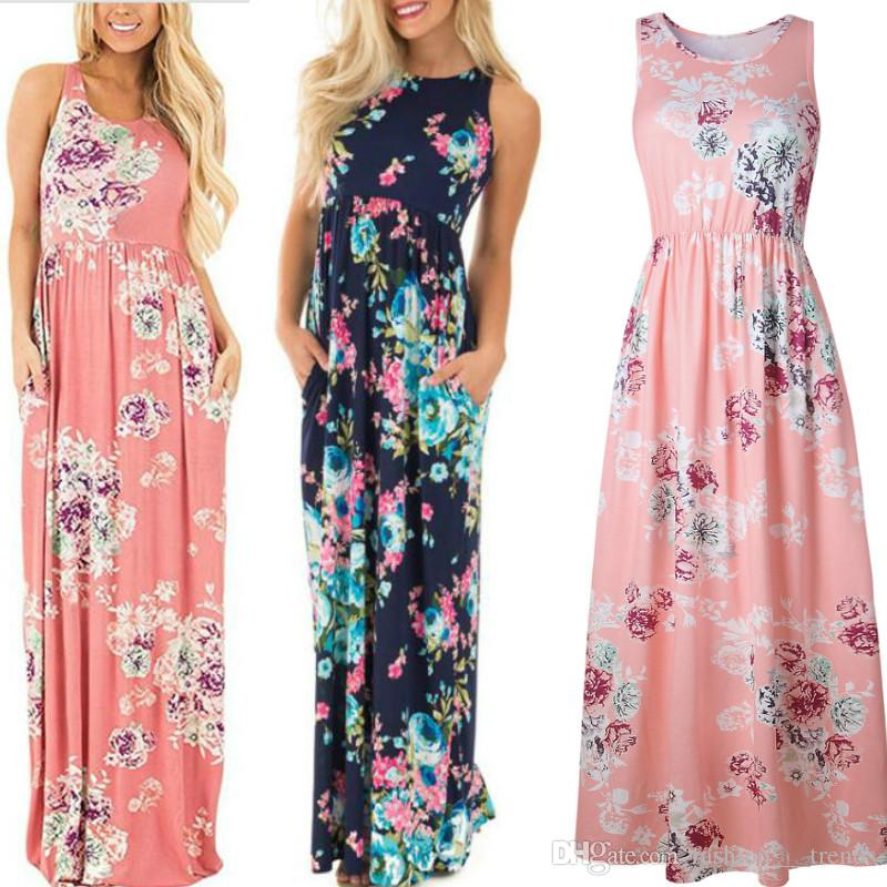 f23db557082 Sexy Summer Dresses Women Bohemia Print Chiffon Dress Floor Length Long  Maxi Boho Beach Floral Sundress Vestidos Plus Size Womens Maxi Dress Dresses  For ...