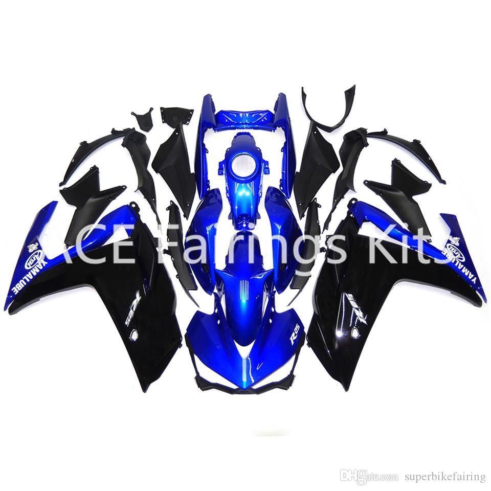 3 omaggi completi Carene complete Yamaha-R3-2015-R25-2014-2015-iniezione-ABS-Moto-carenatura blu nero t7