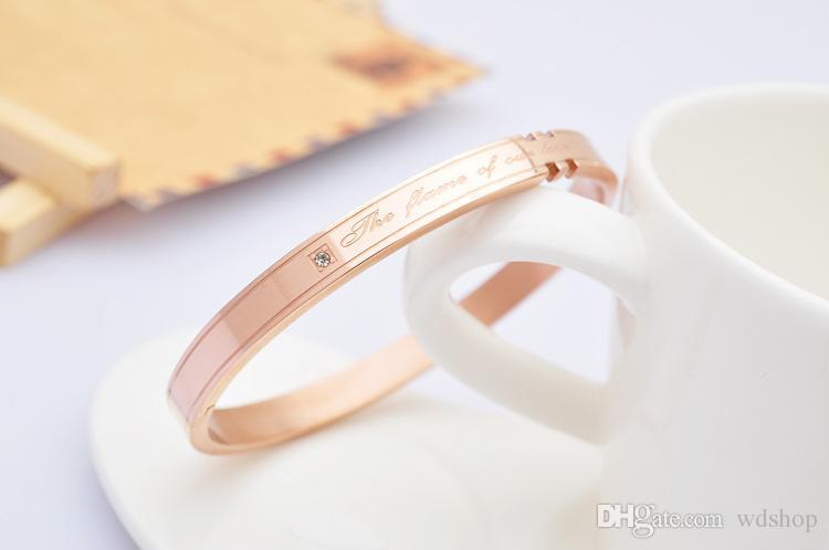 Braccialetto d'acciaio di titanio di colore dell'oro della rosa 14K che mette sempre i braccialetti di amore del diamante eterno il regalo di anniversario delle coppie