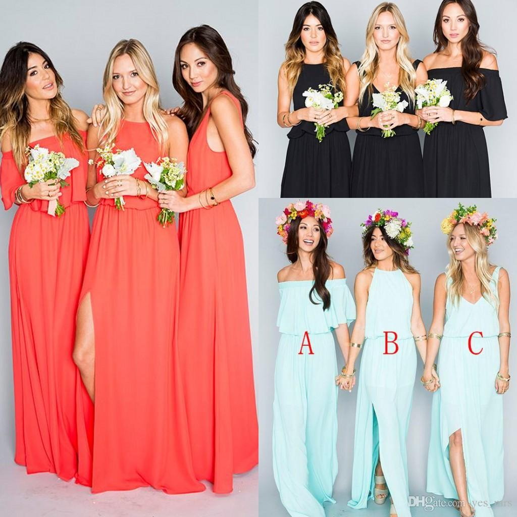 2017 Bohemian Bridesmaid Dresses Wedding Guest Wear Mint Green Coral