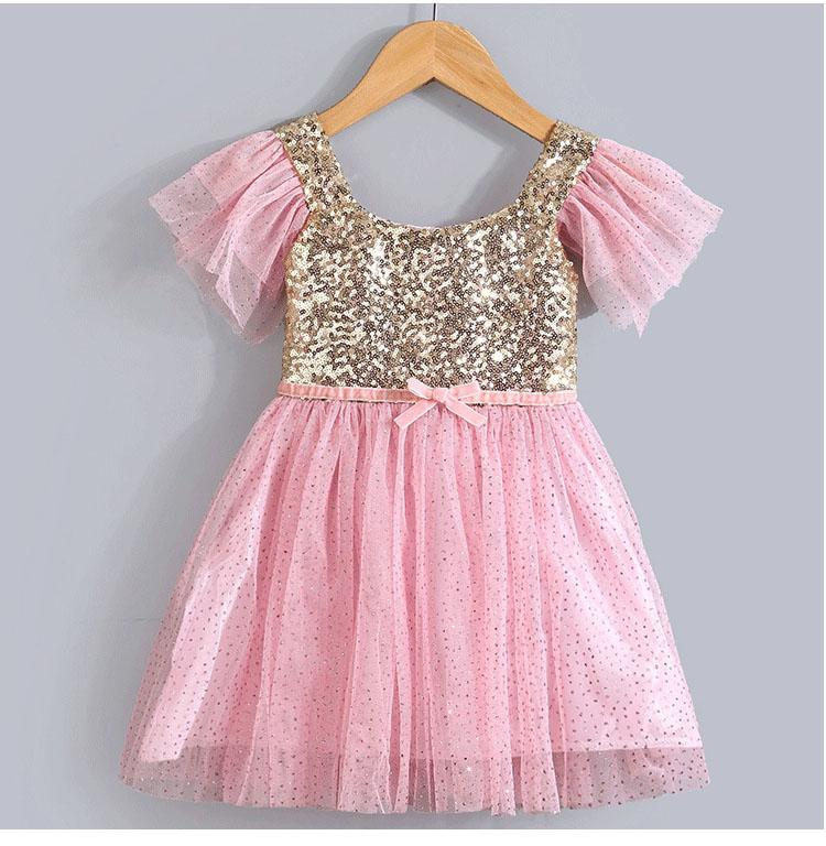 257a6b09db Wholesale- fashion summer ruffle sleeve infant pink and gold sequin dresses