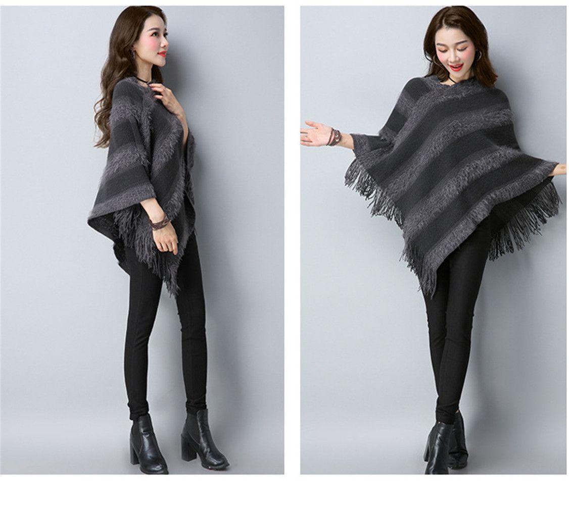 Batwing Sleeve Warm Coat Knitted Hoodie Cape Shawl Poncho Ruana Knit Cardigan Sweater Shawl Wrap Tassel Shawl Plaid