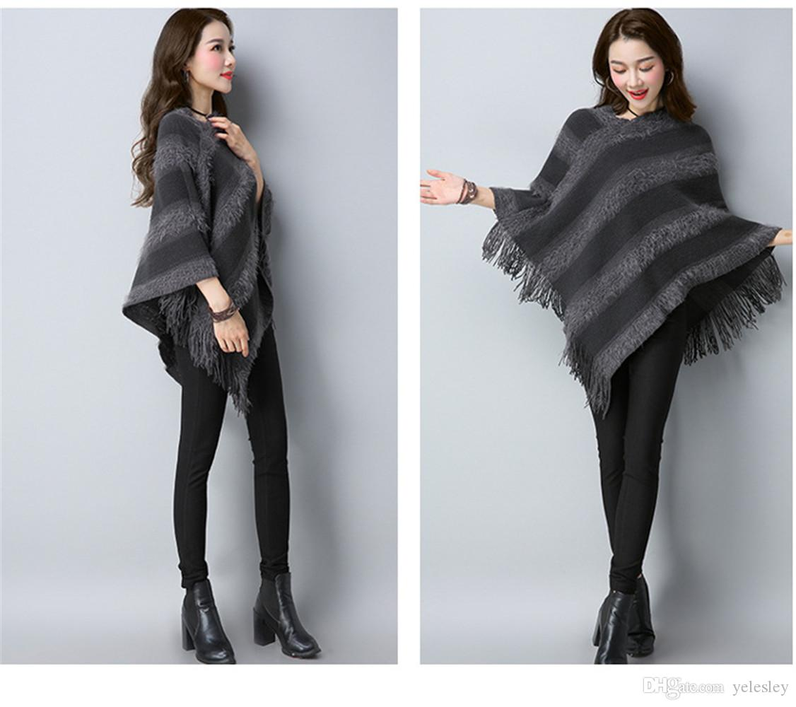 Batwing Top Poncho Cape Coat Tassel Sweater Outwear Plaid Cardigan Turtleneck Cape Batwing Sleeve Knit Poncho Sweater