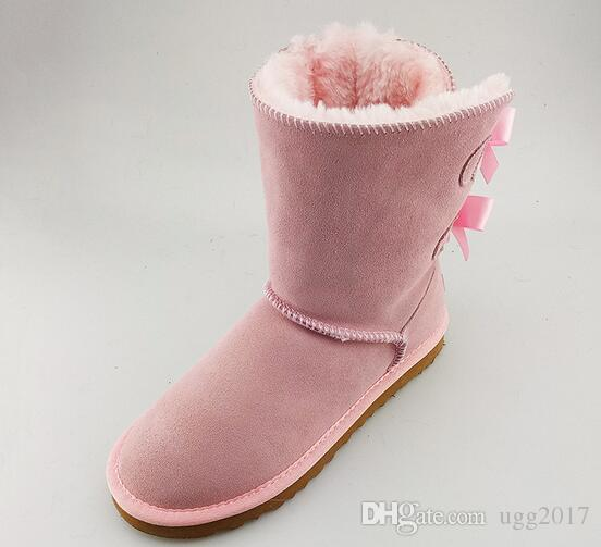 Winter new fur fur warm snow boots in the tube comfortable leather sweet female boots round bow tie ladies