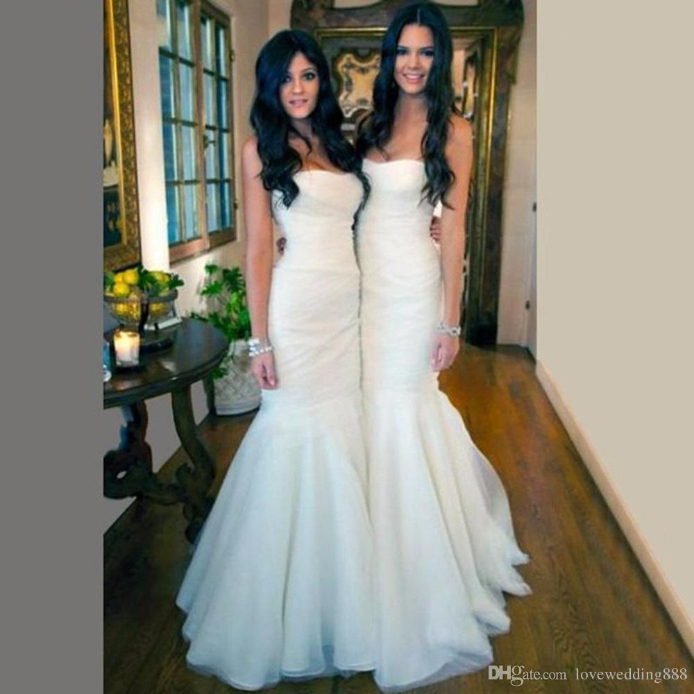 62af516c5355 New Elegant White Mermaid Bridesmaid Dresses 2017 Floor Length Tulle And Satin  Long Wedding Guest Gowns Party Dress Vestido Party Evening Gowns Bridal  Dress ...