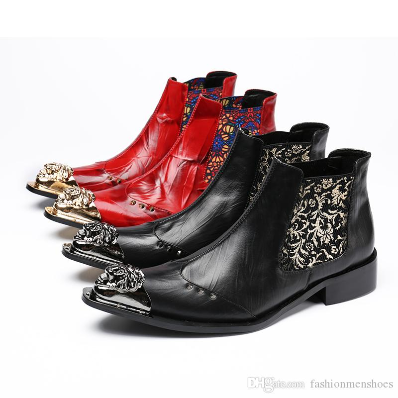 5484592e675 British trend high top men boots European fashion chelsea boots men red  leather booties flower pattern embroidery men dress shoes party shoe