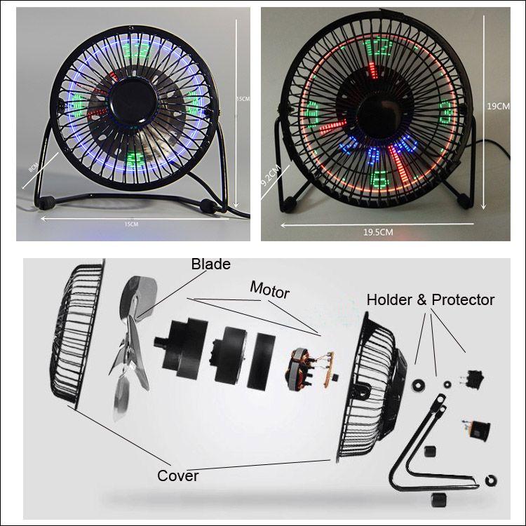 ventilateur parasol 5V ventilateur avec horloge LED Nouvel et la mode cool cadeau d'anniversaire de Noël cadeau de frette