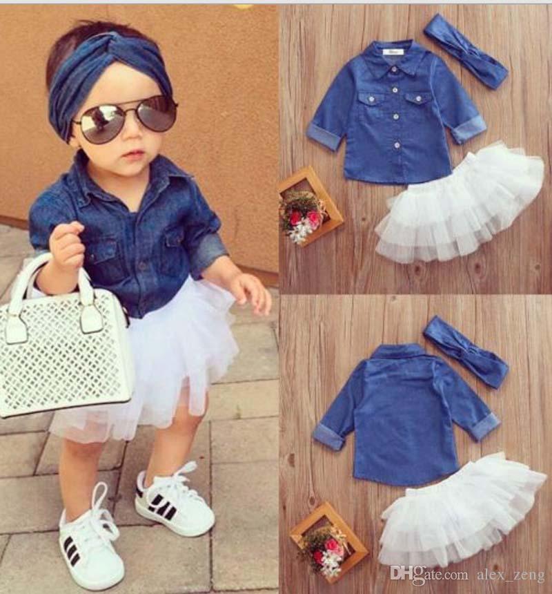 Bebek Kız Denim Moda Seti Giyim Çocuk Uzun Kollu Gömlek Üst + Şort Etek + Yay Bandı 3 ADET Kıyafetler Çocuk Eşofman