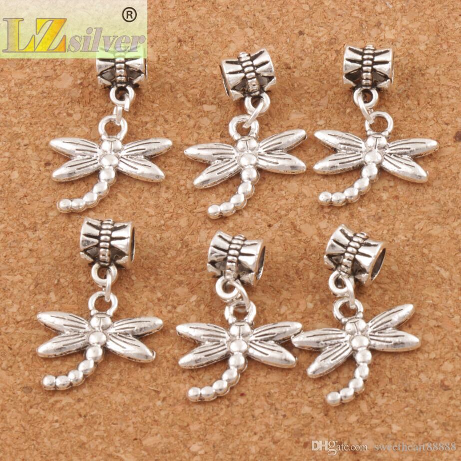 Dragonfly Insect Big Hole Pärlor 100st / Tibetansk Silver Dangle Passform Europeiska Charm Armband Smycken DIY B176 18.1X27mm