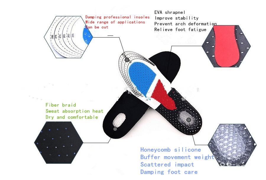 Nuevo diseño de forma estereoscópica 3D multifuncional se puede cortar plantillas desodorante antideslizante deportes engrosamiento amortiguador baloncesto fútbol honeyc