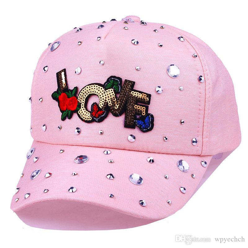 Женская мода бейсболка имитация алмазов Роза Любовь Письмо шляпа Casquette регулируемые Snapback крышки кости Gorro шляпы