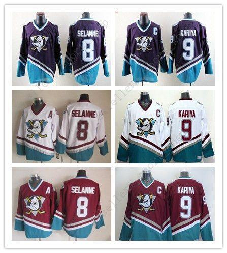 97e539222 Best Cheap Mens Anaheim Ducks  8 Teemu Selanne  9 Paul Kariya White Purple  Black Red Throwback Ccm Hockey Jersey Stitched Under  24.12