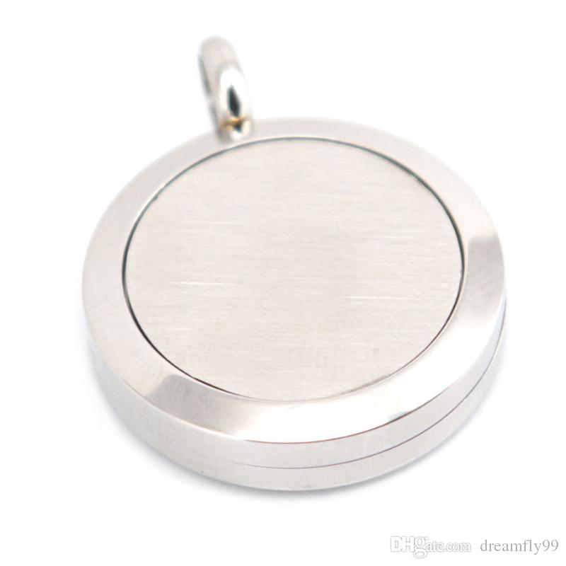 Round Flower 25mm Diffuser 316 Stainless Steel Necklace Pendant Aroma Locket Essential Oil Diffuser Lockets Send Oils Pads As Gifts