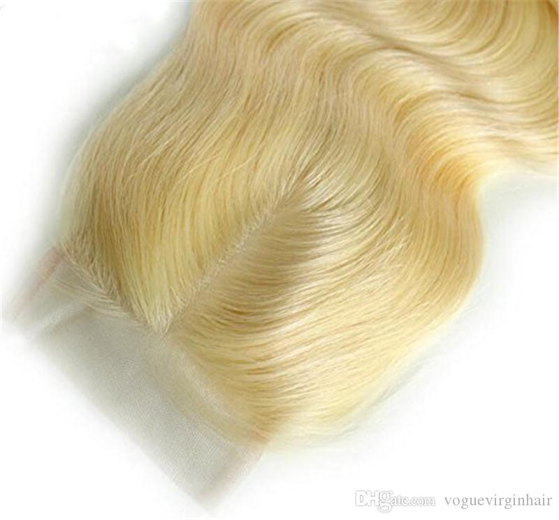 Farbe 613 blonde Spitze Schließung Haar brasilianische Spitze Schließung # 613 Farbe frei / Mitte drei Teil brasilianische Menschenhaar Körperwelle blonde Schließung