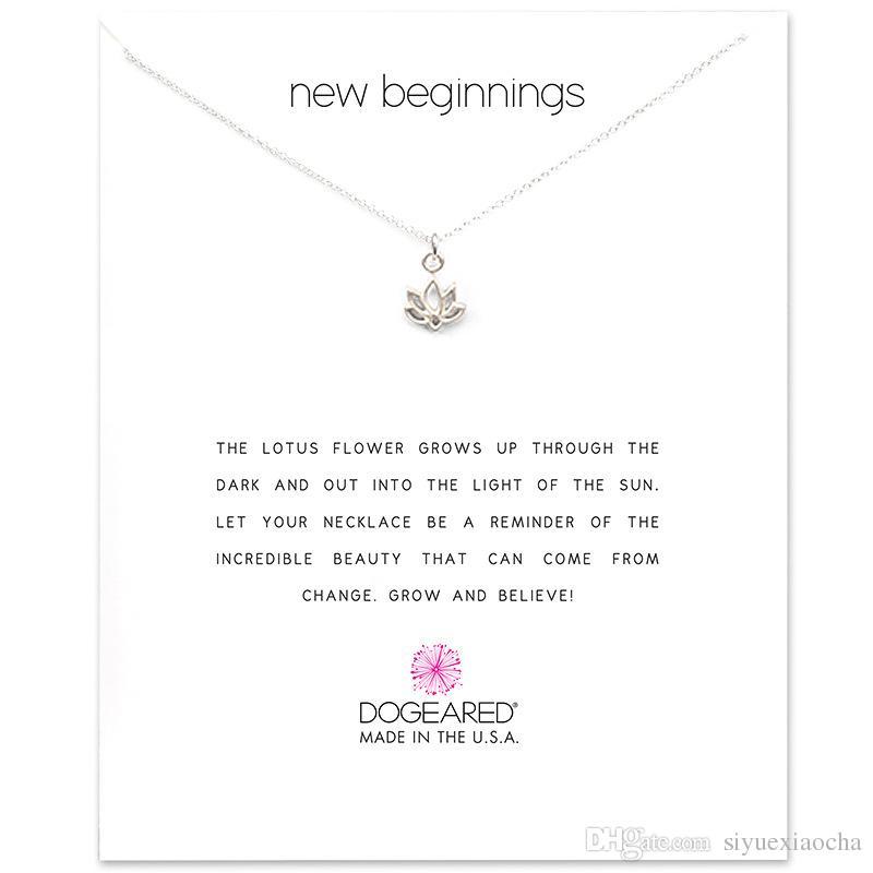 Com cartão! Colar bonito com pingente Lotus novo begnning, prata e cor de ouro, frete grátis e alta qualidade.