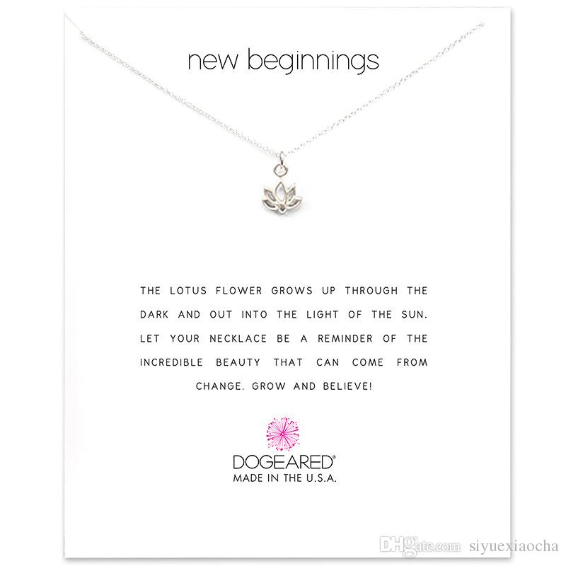 With card! Cute Necklace with Lotus pendant new begnning, silver and gold color, and high quality.
