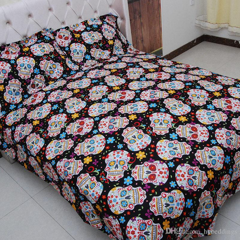 Halloween 3D Skull Bedding Set Sugar Skulls Bedspread Queen Size Duvet Cover Set 3PCS Bedclothes Bedding Wholesale Price Sale