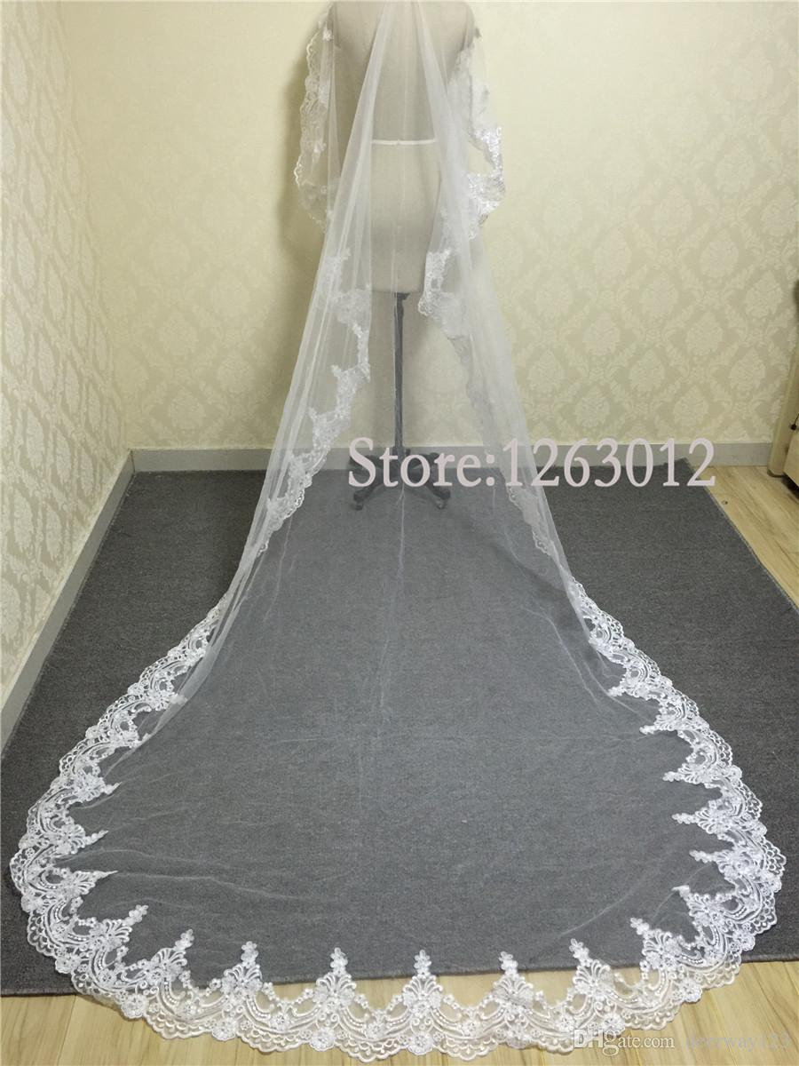 White/Ivory 3M Cathedral Length Lace Edge Long Bridal Head Veil With Comb Wedding Accessories velos de novia