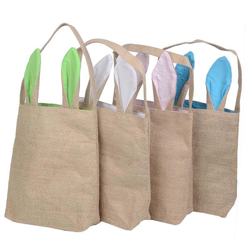 2019 DHL Shipping NEW Design Cotton Linen Canvas Easter Egg Bag Rabbit  Bunny Ear Shopping Tote Bags Kids Children Jute Cloth Gift Bags Handbag  From ... ce25437a50