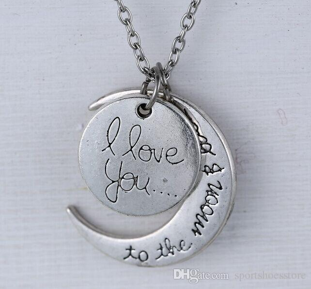 月と太陽の形のネックレスヨーロッパとアメリカのスタイル私は月とバックのネックレスロブスタークラスプペンダントネックレスを愛しています