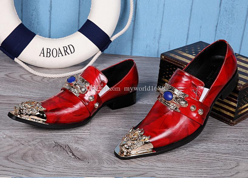 Fashion Genuine Leather Iron Pointed Toe Men Red Wedding Shoes Slip On Business Leather Shoes Gold Sequin Decor Oxfords Creepers