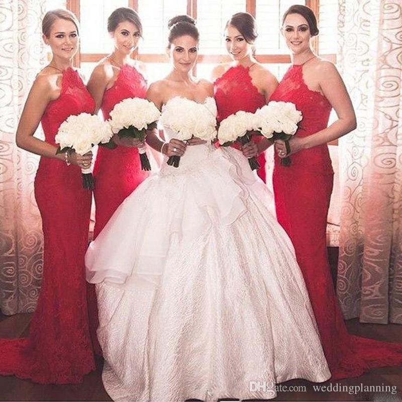 Lace Alta Neck Bridesmaid Dresses Halter Bainha Backless Vestido de Festa Bom Design Vestidos de Convidados Do Casamento Do Vintage