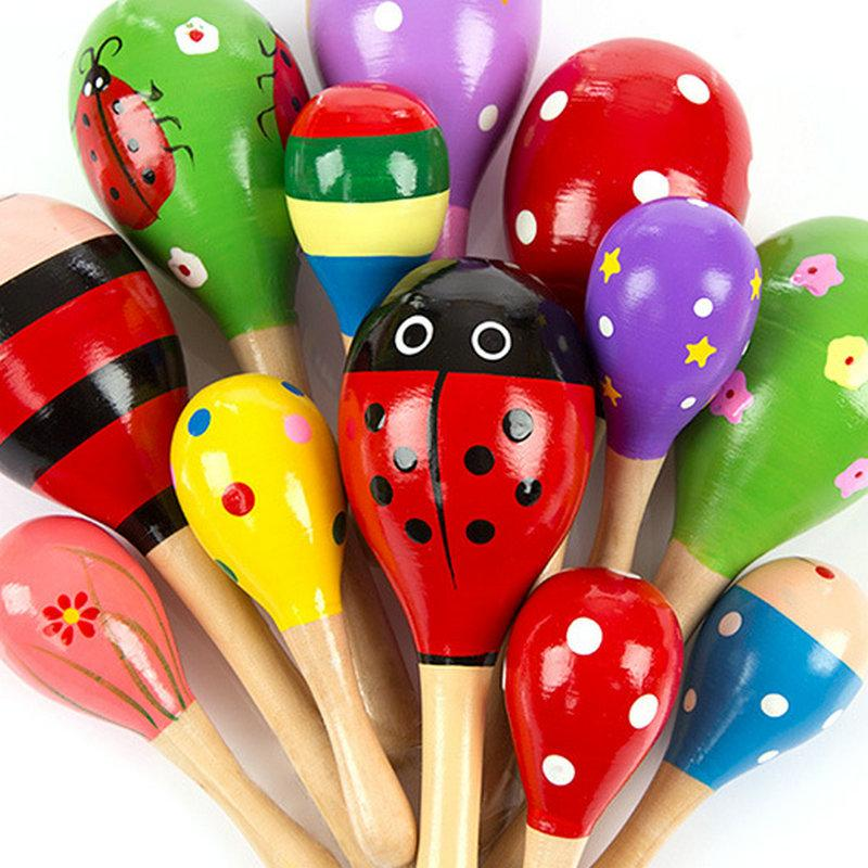 hot 12cm 20pcs Baby Wooden Toy Rattle Baby cute Rattle toys Orff musical  instruments Educational Toys baby Sand ball sand hammer 12-20cm