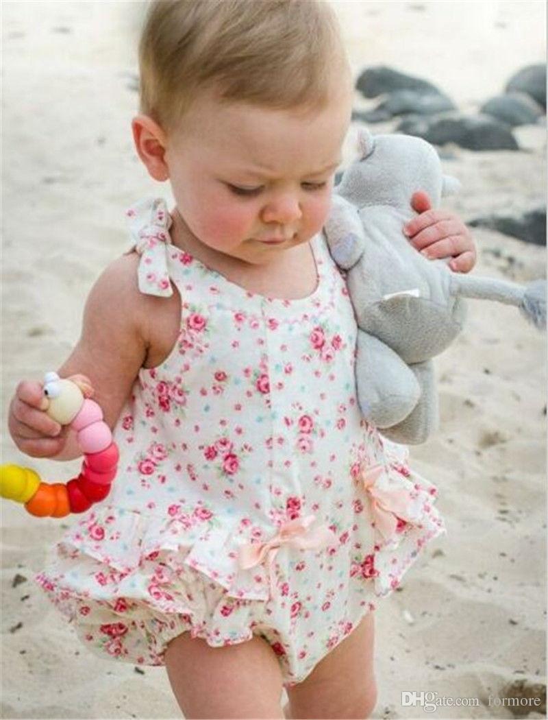 Bebé recién nacido Ropa para bebés Niños pequeños Vestido Romoper Diseñador Traje para niños Traje de verano para bebés Bubble Onesies Floral Porn Leotards