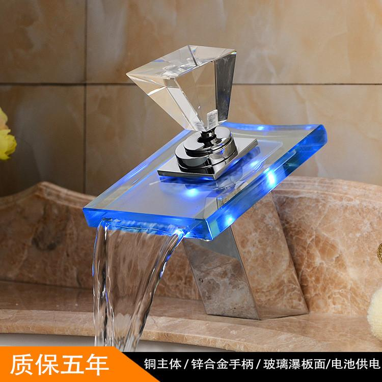 Diamond Style Handles Color Changing LED Water Power Bathroom Basin ...