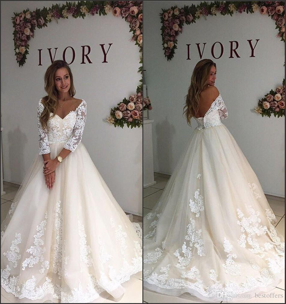 Discount New Ivory Lace Wedding Dresses 2018 Long Sleeve