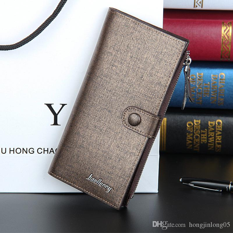 Fashion New Quality Men Wallets Sewing Thread Design High Capacity Zipper Hasp Gold Blue 2 Folds Multi Credit Card Holder Wallet