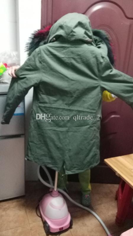 Jazzevar-Marke Live-Bilder Regenbogenpelzbesatz grüne Jacken 100% mehrfarbenes Kaninchenfell gefüttert lange Parka-Schnee Armeegrün Canvas Mäntel