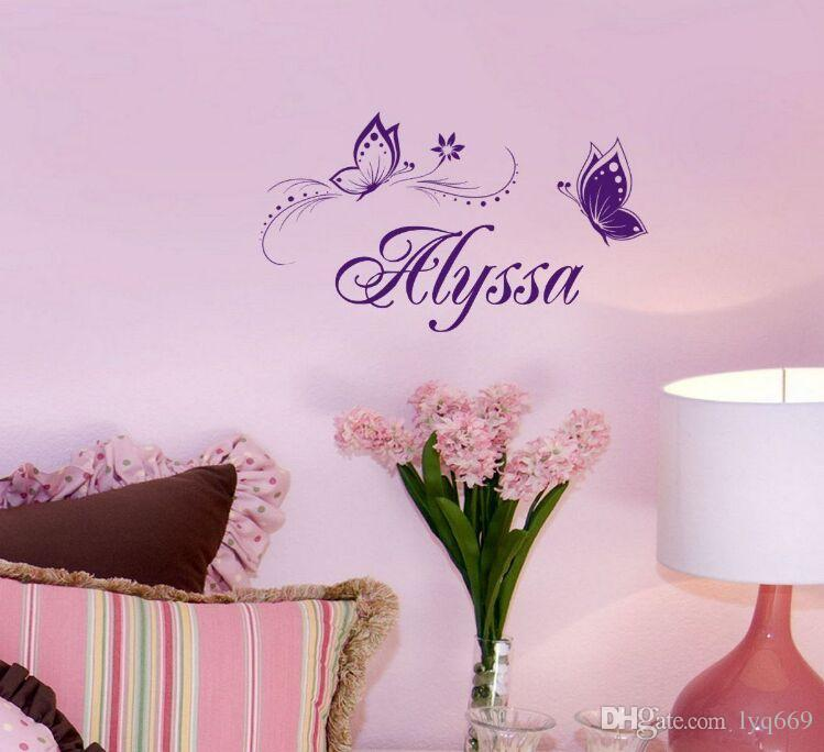 Butterfly Child Name Vinyl Wall Stickers Customer Name With Two Butterfly Creative Wall Art for Childen Room Decors