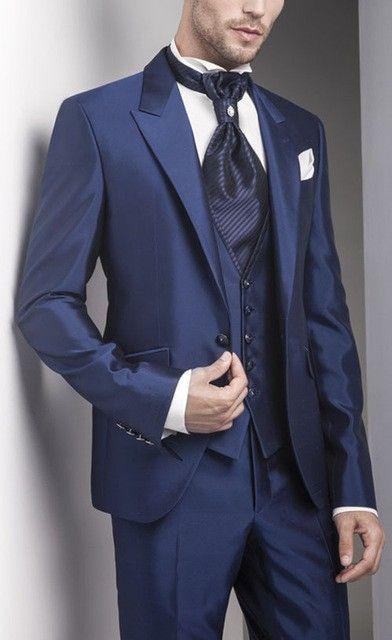 Full Navy Blue Men Suits 2017 Custom Made Groomsmen Tuxedos Peak ...