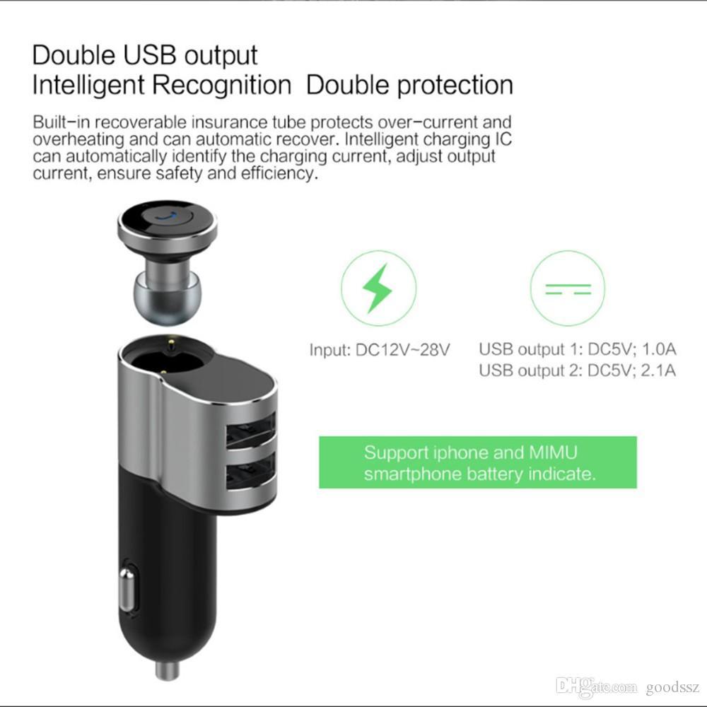 OVEVO Q10 무선 미니 이어폰 자동차 충전기 주도 디스플레이 블루투스 4.1 헤드셋 및 자동차 폰 충전기 2 1 in iPhone7 스마트 폰