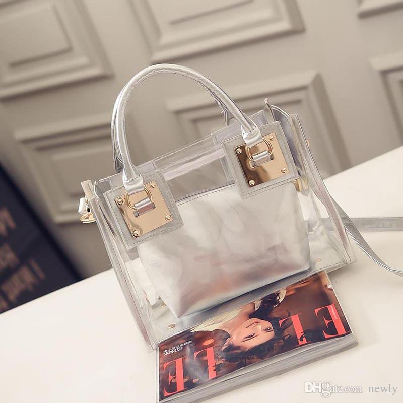 summer candy color women leather PVC purses and handbags chain square transparent beach totes fashion shoulder beach bags women