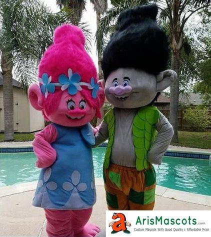 100% Real Photos Trolls Branch U0026 Poppy Suit Mascot Costume Trolls Mascots  Suit Party Costumes Trolls Mascots Costume Troll Character Branch Mascot  Costume ...
