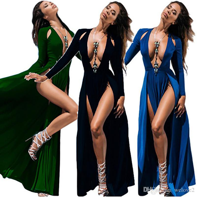 New Women Vestido Plus Size Club High Split Dress Long Sleeve Black Double  Slit Slim Deep V-Neck Maxi Evening Party Dress 3300