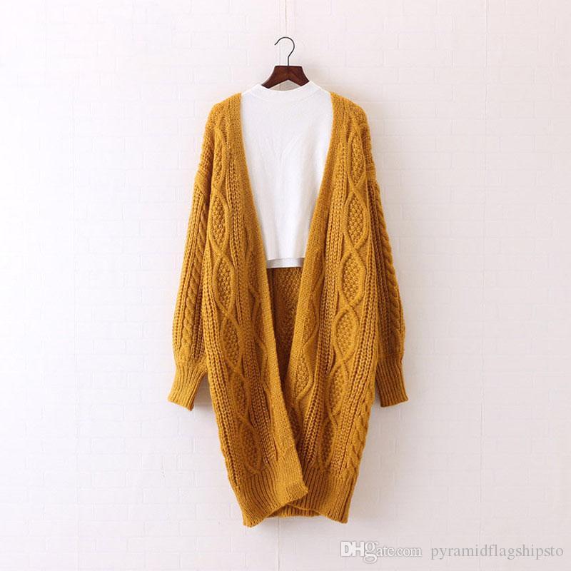 Sweaters Women Long Cardigans Autumn Winter Open Stitch Poncho Knitting Sweater Cardigans V neck Oversized Cardigan Jacket Coat YEE33Q21