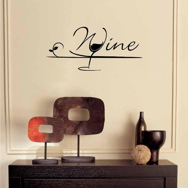 creative wine glass wall decals for kitchen home decor living room