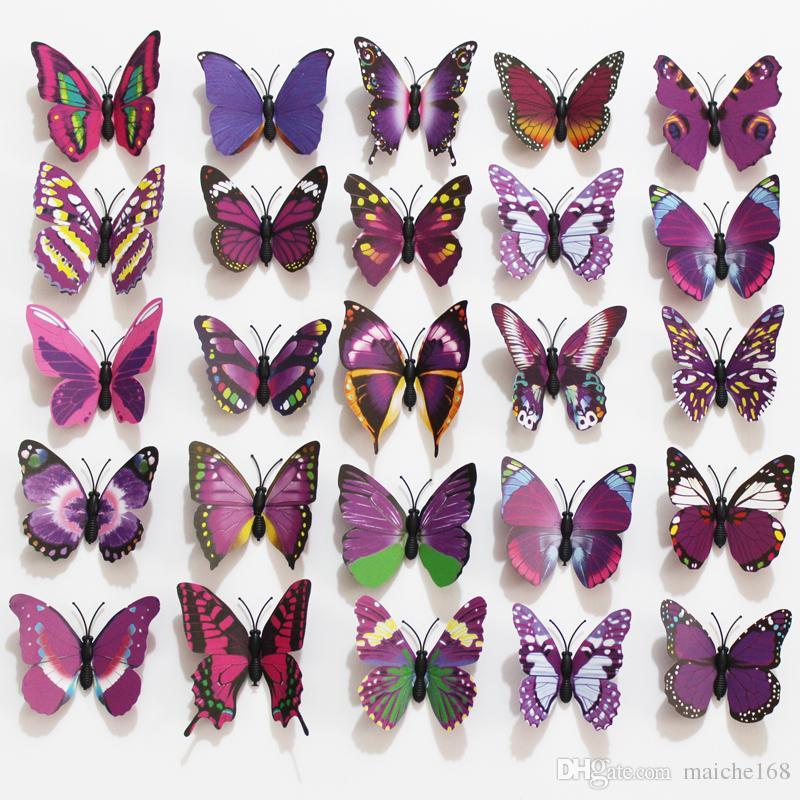 Partihandel 100 st Kylskåpmagneter Simulering Butterfly