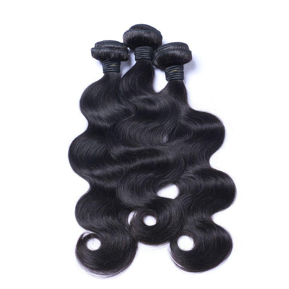 Virgin dei capelli malesi dell'onda del corpo di tessuto dei capelli non trattati umani tesse Remy estensioni dei capelli umani nessun spargimento tingibili /