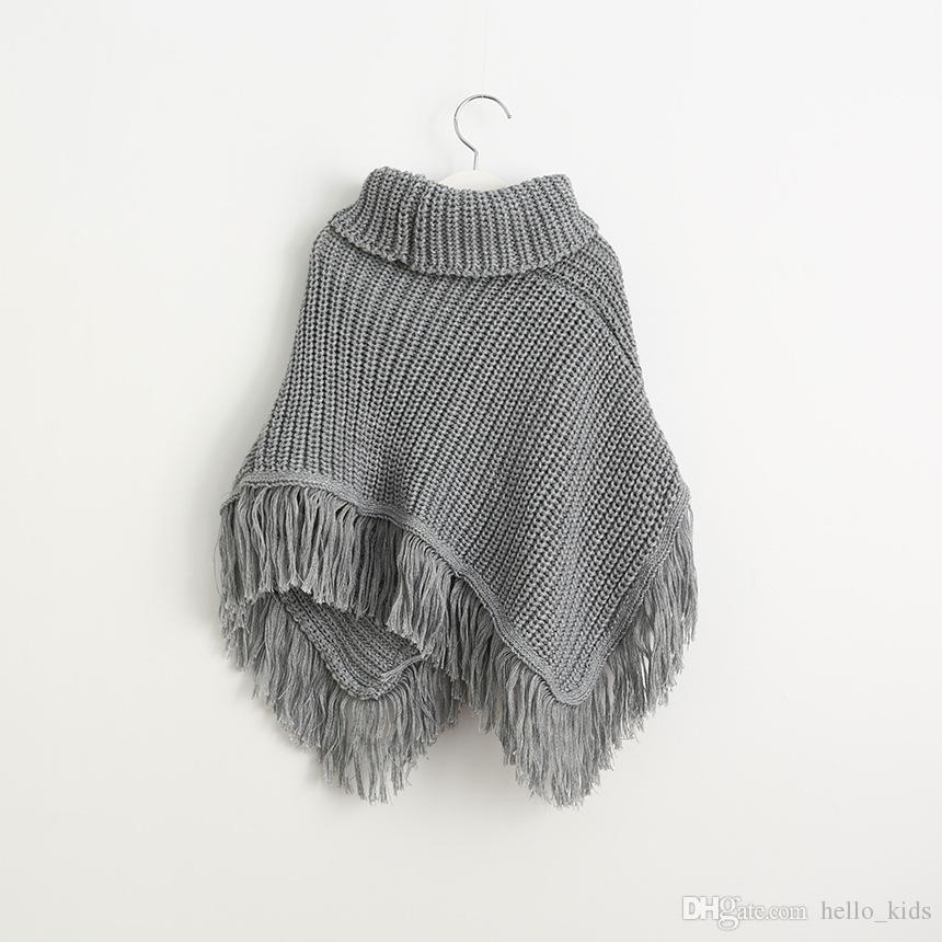 291240dbe838 New Baby Girls Knit Tassel Poncho Outwear 2017 Kids Girls Wool ...