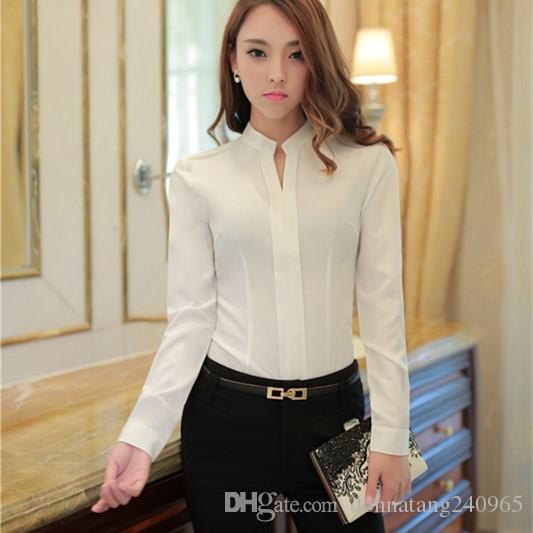 Chiffon Blouse White Shirt Women Long Sleeve Slim Plus Size Cheap Clothes  China Blusas Office Ladies Work Wear UK 2019 From Donnatang240965 b11b33a76