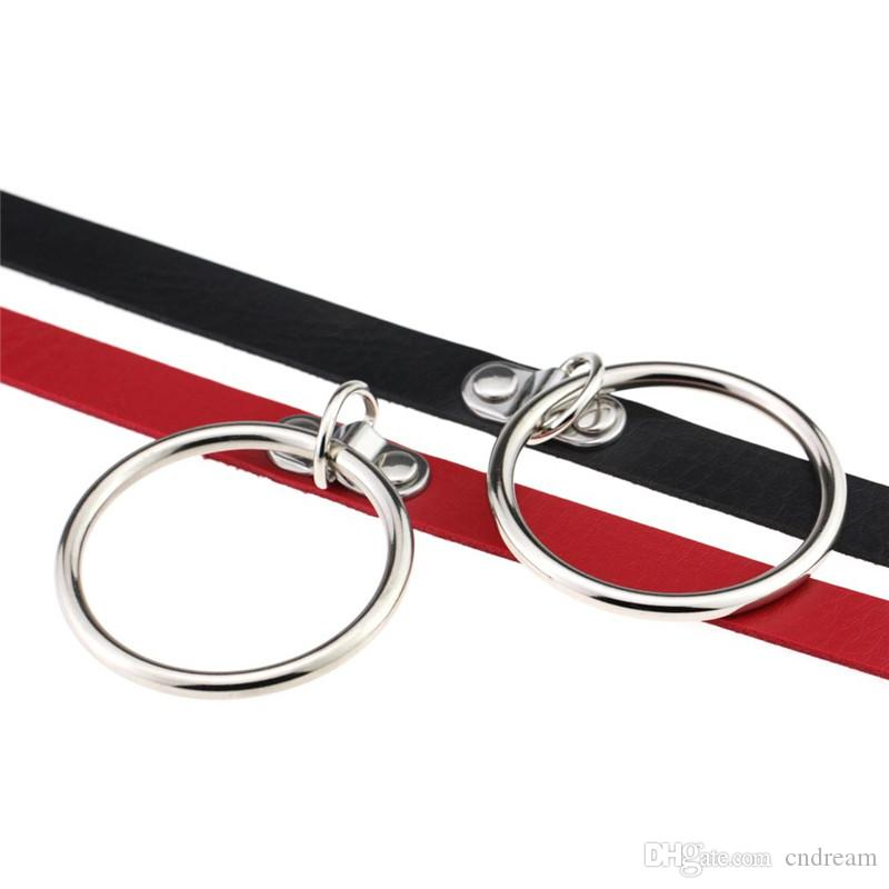 Metall-O-Ring-Halskette Leder Halskette Frauen Halskette Kragen Modeschmuck Will und Sand Drop Shipping