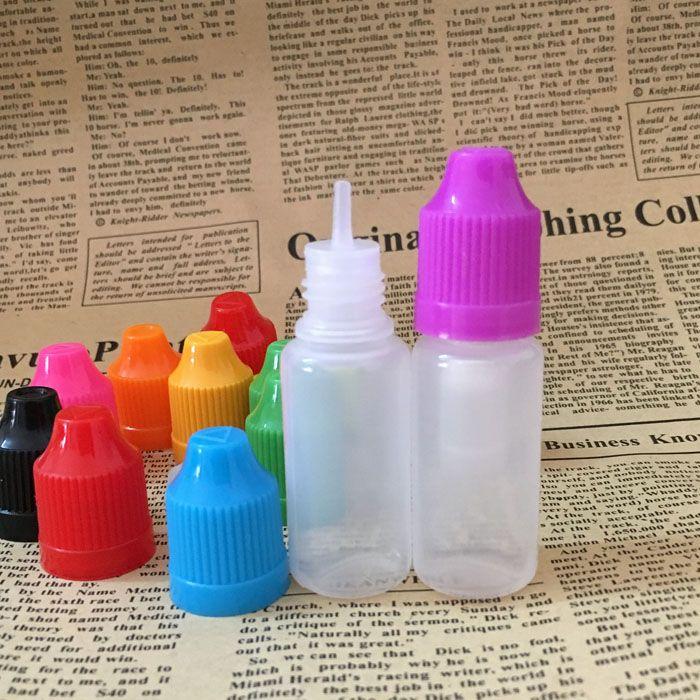 HOT 5ML 10ML 15ML 20ML 30ML 50ML 60ML 100ML 120ML إفراغ زجاجات PE البلاستيكية القطارة مع يفتحها الاطفال كاب رقيقة تلميح للحصول على E-سيج زجاجات E السائل