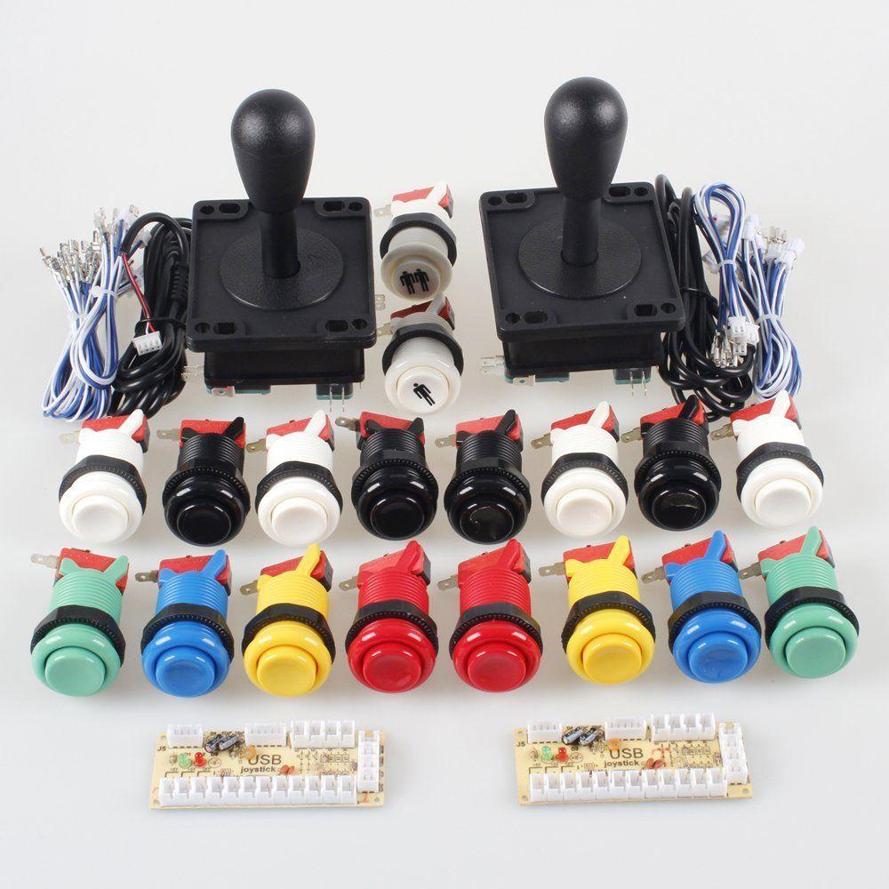 Arcade Button and Joystick Kit Game DIY Replacement Parts for Mame USB  Cabinet 2x Zero Delay USB Encoder / 2x 8 Way Arcade Joystick
